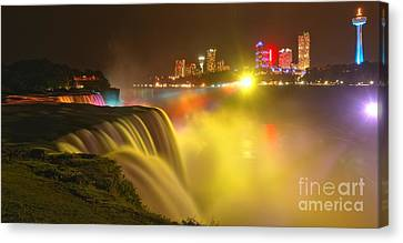 Niagara Falls In Yellow Canvas Print by Adam Jewell
