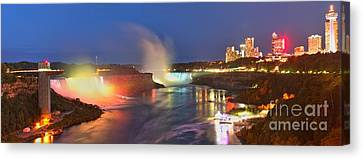 Niagara Falls Night Lights Panorama Canvas Print by Adam Jewell