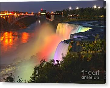 Niagara Falls Prospect Point Rainbow Canvas Print by Adam Jewell