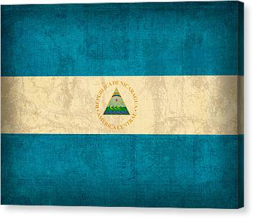 Nicaragua Flag Vintage Distressed Finish Canvas Print by Design Turnpike