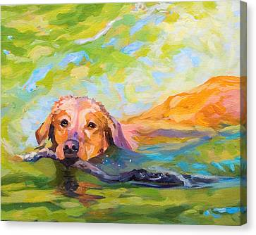 Nice Day For A Swim Canvas Print by Janine Hoefler