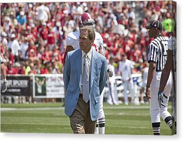 Nick Saban Head Football Coach Of Alabama Canvas Print by Mountain Dreams
