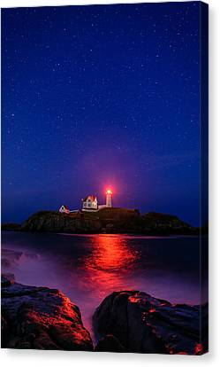 Night At Nubble Light Canvas Print by Michael Blanchette