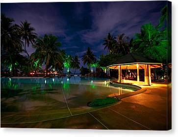 Night At Tropical Resort 1 Canvas Print by Jenny Rainbow