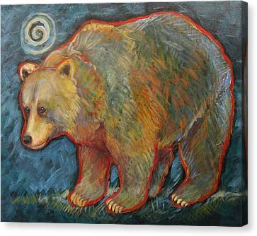 Night Bear Grizzly Bear Canvas Print by Carol Suzanne Niebuhr