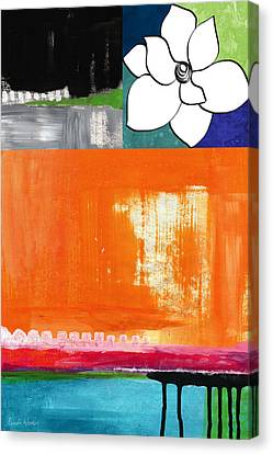 Night Bloom- Colorful Abstract Art Canvas Print by Linda Woods