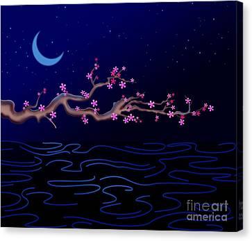 Night Cherry Blossoms Canvas Print by Bedros Awak
