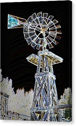 Night Drawing Windmill Antique In Color 3005.04 Canvas Print by M K  Miller