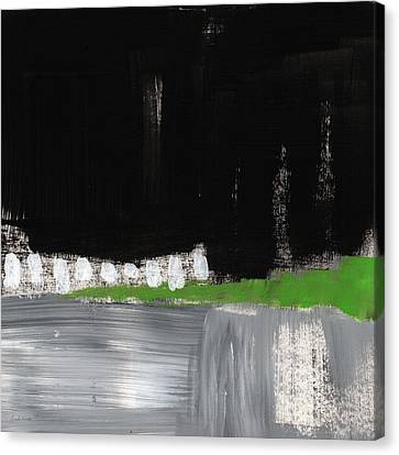 Night Horizon- Abstract Landscapeart Canvas Print by Linda Woods