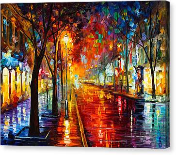 Night In Red Canvas Print by Leonid Afremov