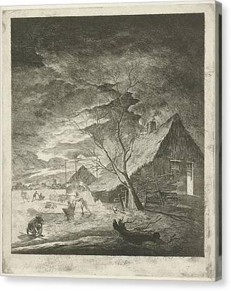 Night Landscape With Farm And Skaters, Johannes Janson Canvas Print by Johannes Janson