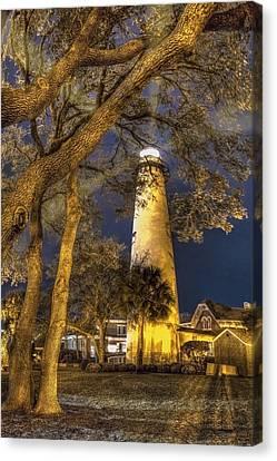 Night Lighthouse Canvas Print by Debra and Dave Vanderlaan