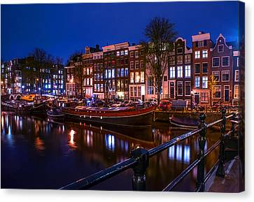 Night Lights On The Amsterdam Canals. Holland Canvas Print by Jenny Rainbow
