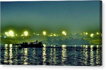 Night Lights On The Ganges - Kumbhla Mela - Allahabad Canvas Print by Kim Bemis