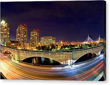Night Moves 2-boston Canvas Print by Joann Vitali