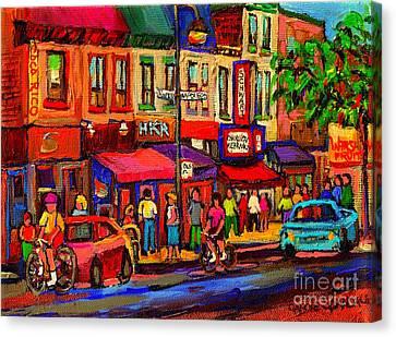Night Riders On The Boulevard Rue St Laurent And Napoleon Deli Schwartz Montreal Midnight City Scene Canvas Print by Carole Spandau