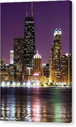 Night Skyline Of Chicago Canvas Print by Paul Velgos