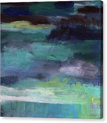 Night Swim- Abstract Art Canvas Print by Linda Woods