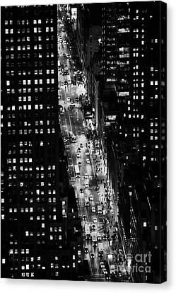 Night View Down Towards Fifth 5th Avenue Ave At Night New York City Canvas Print by Joe Fox