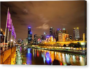 Night View Of The Yarra River And Skyscrapers - Melbourne - Australia Canvas Print by David Hill