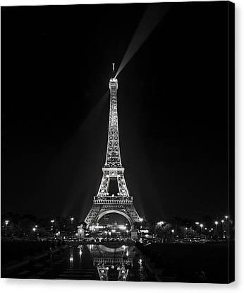 Night View Over The Eiffel Tower Canvas Print by Antonio Jorge Nunes