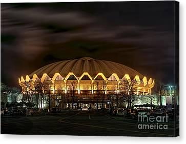 night WVU basketball Coliseum arena in Canvas Print by Dan Friend