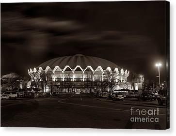 night WVU Coliseum basketball arena Canvas Print by Dan Friend