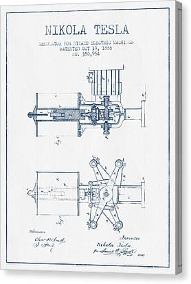 Nikola Tesla Regulator Patent Drawing From 1886- Blue Ink Canvas Print by Aged Pixel