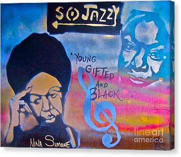 Nina Simone Canvas Print by Tony B Conscious