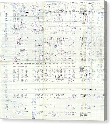 Nirenberg's Genetic Codon Table Canvas Print by National Library Of Medicine