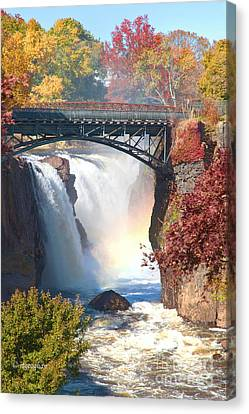 Nj Great Falls In Autumn Canvas Print by Regina Geoghan