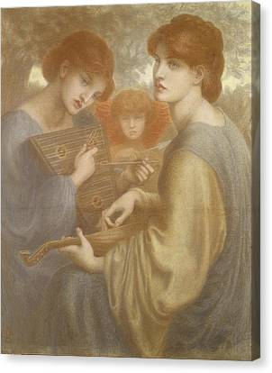 No. 1011 Study For The Bower Meadow Canvas Print by Dante Gabriel Charles Rossetti
