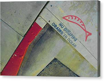 No Dumping - Drains To Ocean No 1 Canvas Print by Ben and Raisa Gertsberg