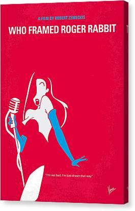 Cartoon Canvas Print featuring the digital art No271 My Roger Rabbit Minimal Movie Poster by Chungkong Art
