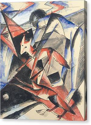 Noah And The Fox Canvas Print by Franz Marc
