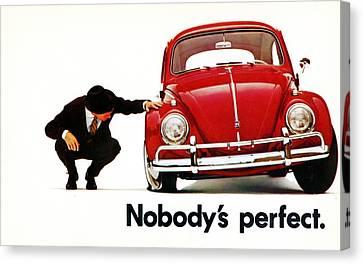 Nobodys Perfect - Volkswagen Beetle Ad Canvas Print by Georgia Fowler
