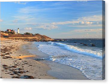 Nobska Lighthouse And Nobska Beach Cape Cod Canvas Print by John Burk