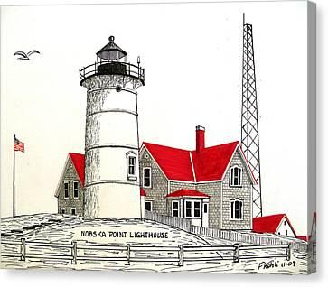 Nobska Point Lighthouse Drawing Canvas Print by Frederic Kohli