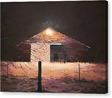 Nocturnal Barn Canvas Print by Rebecca Matthews