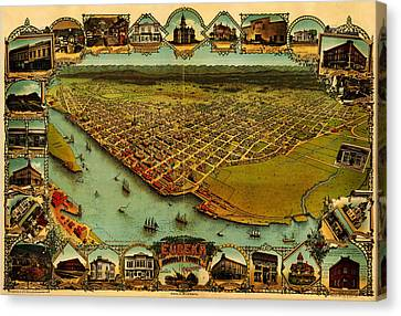 Noes Map Of Eureka California 1902 Canvas Print by MotionAge Designs