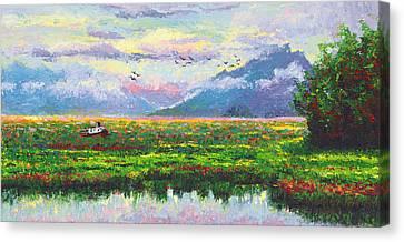 Nomad - Alaska Landscape With Joe Redington's Boat In Knik Alaska Canvas Print by Talya Johnson
