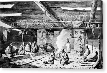 Nootka Dwelling, 1778 Canvas Print by Granger
