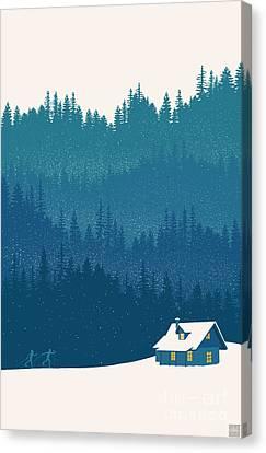 Nordic Ski Scene Canvas Print by Sassan Filsoof