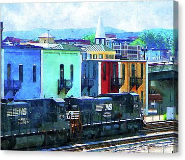 Norfolk Southern 8324 And 8676 Locomotives Canvas Print by Susan Savad