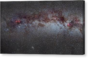 North America Nebula The Milky Way From Cygnus To Perseus And Andromeda Galaxy Canvas Print by Guido Montanes Castillo