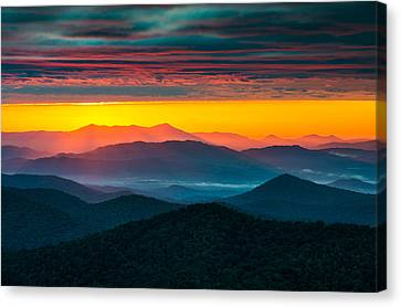 North Carolina Blue Ridge Parkway Morning Majesty Canvas Print by Dave Allen