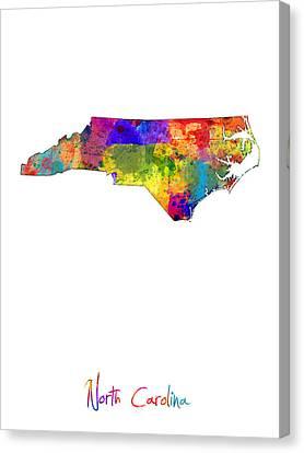 North Carolina Map Canvas Print by Michael Tompsett