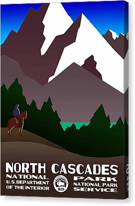 North Cascades National Park Vintage Poster Canvas Print by Eric Glaser