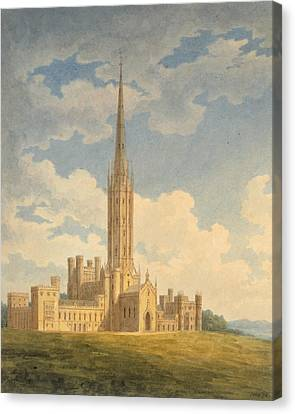 North-west View Of Fonthill Abbey Canvas Print by Charles Wild