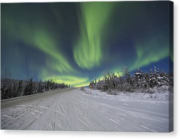 Northern Lights Dancing Over The James Canvas Print by Lucas Payne